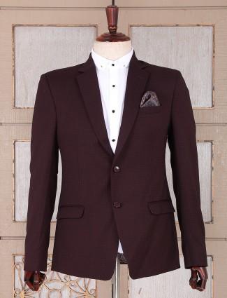 Brown color printed pattern blazer