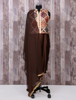 Brown color punjabi silk salwar suit