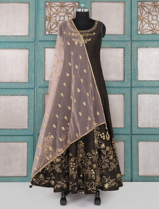Brown color raw silk anarkali suit for party