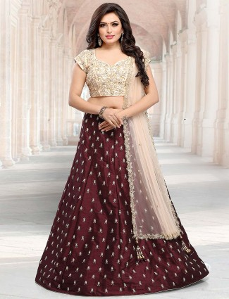 Brown color raw silk lehenga choli for festive occasion