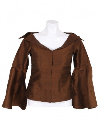 Brown color raw silk ready made blouse
