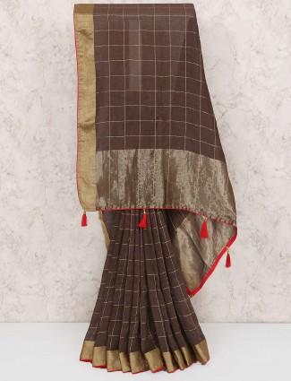 Brown color saree in muga silk fabric