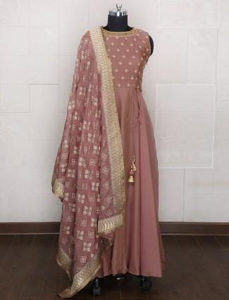 Brown color silk anarkali suit for festive