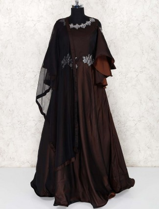 Brown color silk party gown