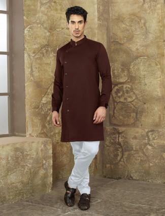 Brown color simple kurta suit