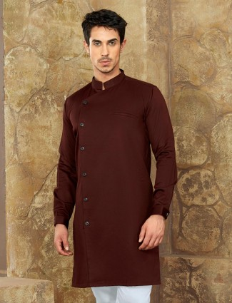 Brown color simple short pathani