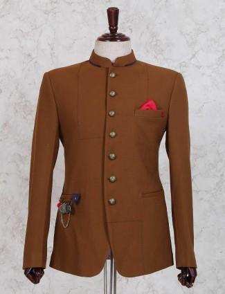 Brown color solid jodhpuri suit