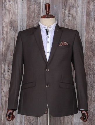Brown color solid patry wear coat suit