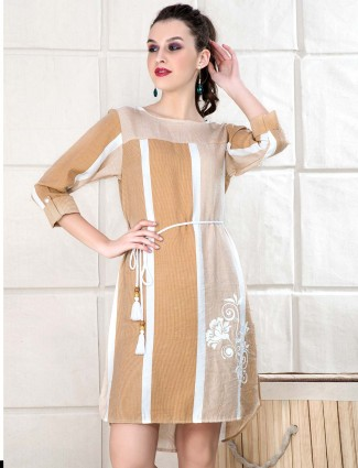 Brown color top for casual wear in cotton fabric