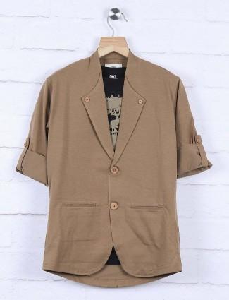 Brown colored cotton fabric blazer
