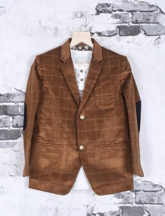 Brown corduroy checks pattern blazer
