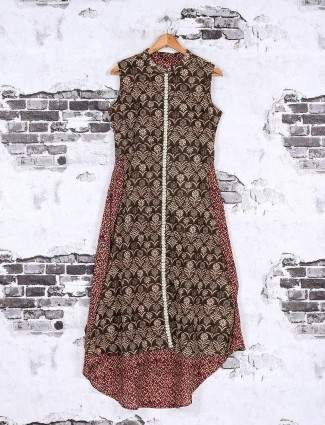 Brown cotton fabric casual kurti