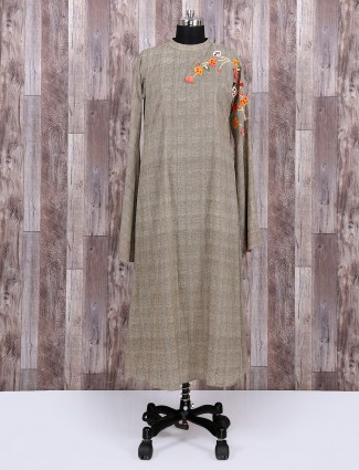 Brown cotton fabric kurti