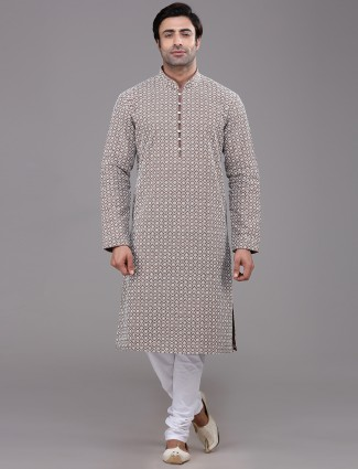 Brown cotton farbic chikan kurta suit