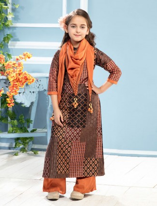 Brown cotton hakoba pattern printed palazzo suit
