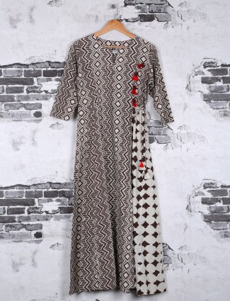 Brown cotton printed kurti