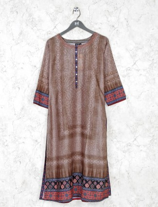 Brown cotton silk casual kurti