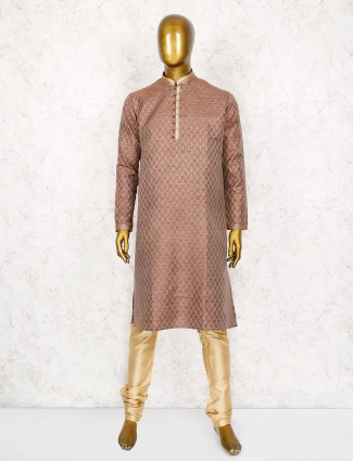 Brown cotton silk fabric kurta suit for party