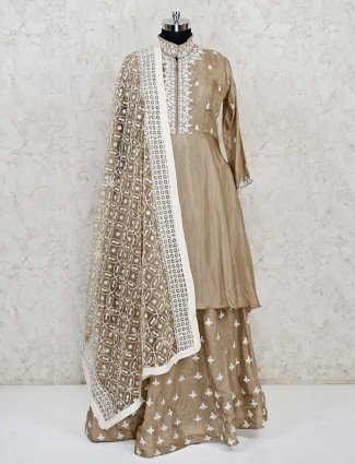 Brown cotton silk festive wear lehenga suit