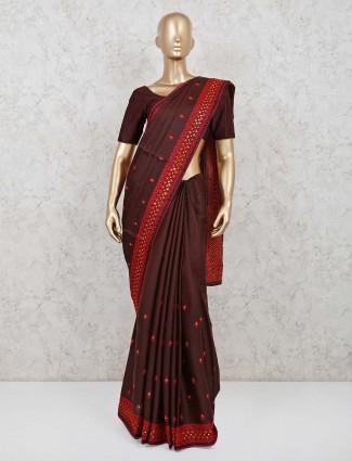 Brown cotton silk festive wear saree