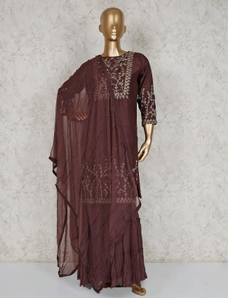 Brown cotton silk festive wear sharara suit
