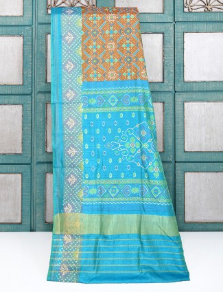 Brown cotton silk patola printed saree