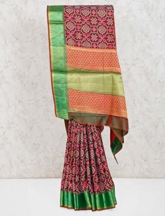 Brown cotton silk patola printed sari