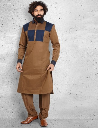 Brown cotton solid pathani suit