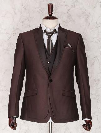 Brown designer coat suit