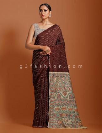 Brown designer kalamkari bandhej saree