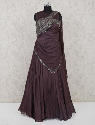 Brown designer net gown for wedding