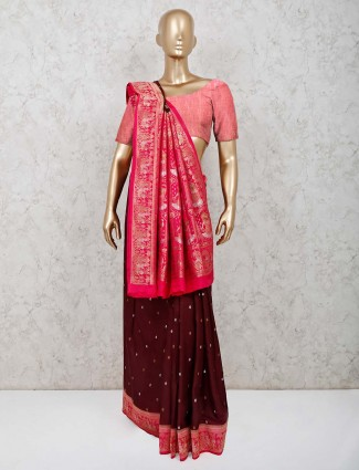 Brown dola silk saree with magenta pallu