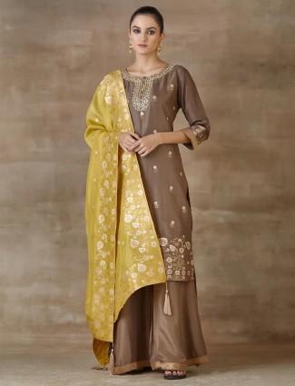 Brown Festivals Wear Cotton Palazzo Salwar Suits