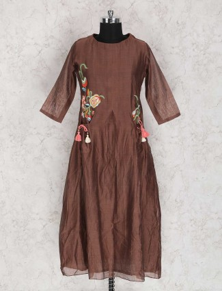 Brown festive wear kurti