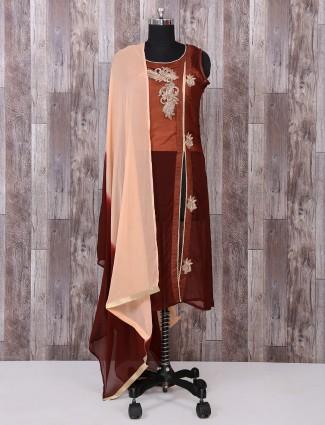 Brown georgette fabric salwar suit