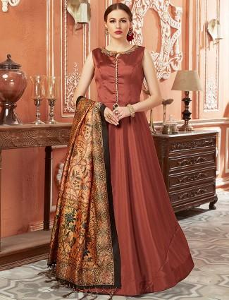 Brown hue anarkali salwar suit in cotton silk