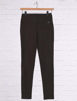 Brown hue cotton casual jeggings