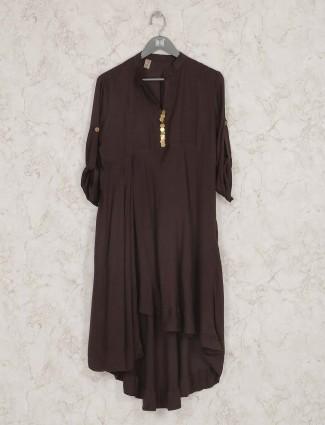 Brown hue cotton festive kurti set
