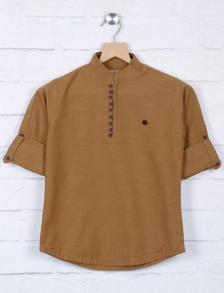 Brown hue cotton full sleeves shirt