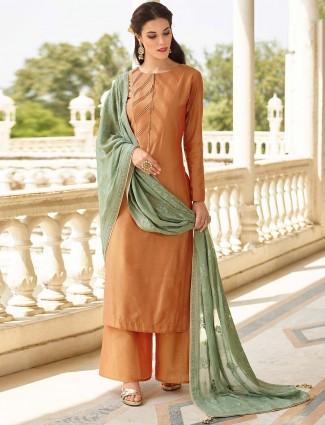 Brown hue cotton silk punjabi palazzo suit