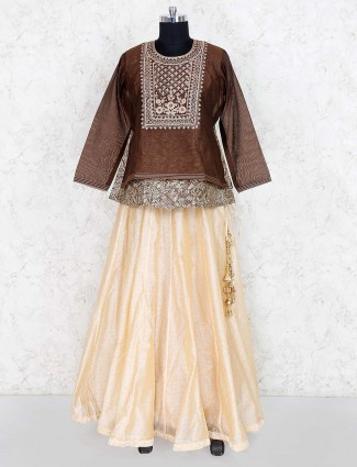 Brown hue festive cotton silk lehenga choli