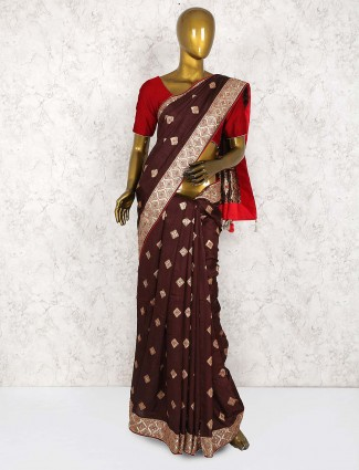 Brown hue festive wear cotton silk saree