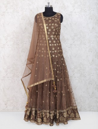 Brown hue floor length anarkali suit in net fabric