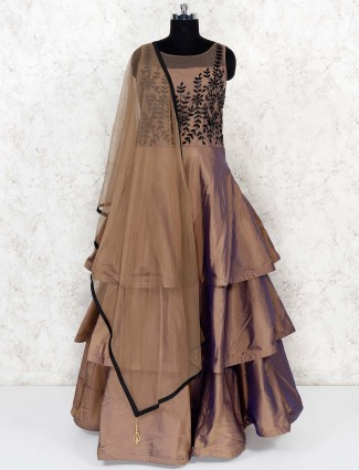 Brown hue layer style party gown in satin fabric