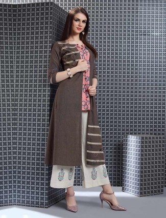 Brown hue palazzo suit in jacket style