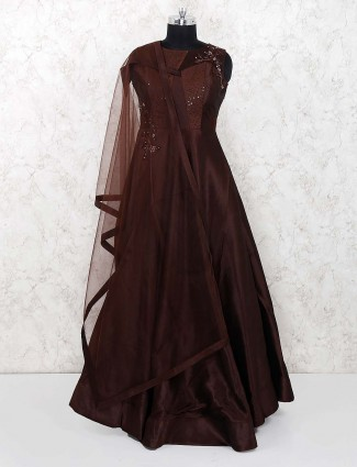 Brown hue party wear gown in raw silk