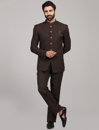 Brown hue solid jodhpuri party coat suit