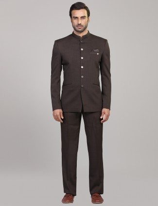 Brown hue terry rayon jodhpuri suit