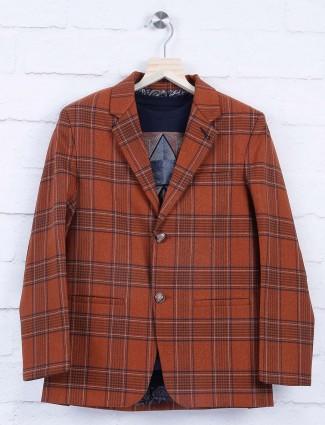 Brown hue terry rayon tweed pattern blazer