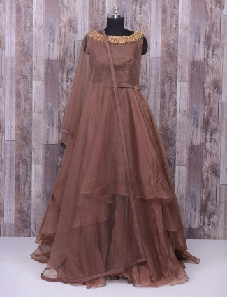 Brown hue tissu silk anarkali suit